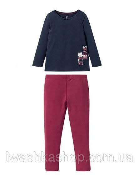 Брендовая пижама, темно- синий лонгслив и бордовые лосины на девочек 2 - 4 лет, р. 98 / 104, Lupilu