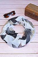 Воздушный шарф снуд в цветы коричневый, фото 1