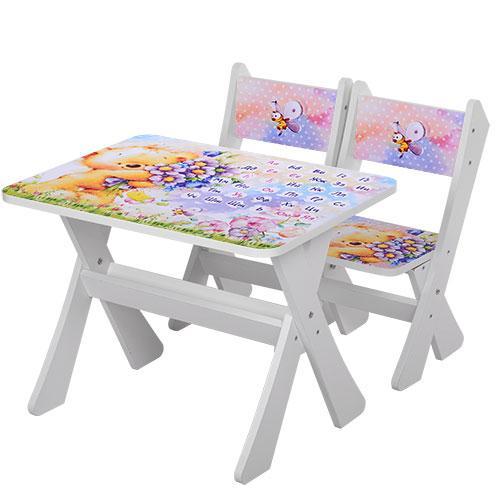 Детский стол с двумя стульчиками Bambi М 2100-12 Мишки белый ***