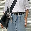 Ремень с цепью женский эко-кожаный с заклепками дырками черный унисекс ретро, фото 9