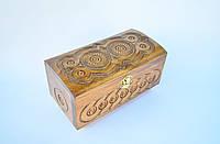 Шкатулка деревянная, резьба, куфер  21х11