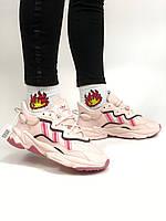 Женские кроссовки Adidas Ozweego Pink \ Адидас Озвиго \ Жіночі кросівки Адідас Озвіго Розові