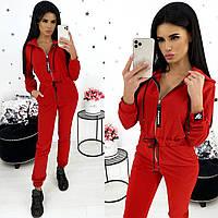 Модный женский комбинезон на молнии с капюшоном красный 42-44 46-48