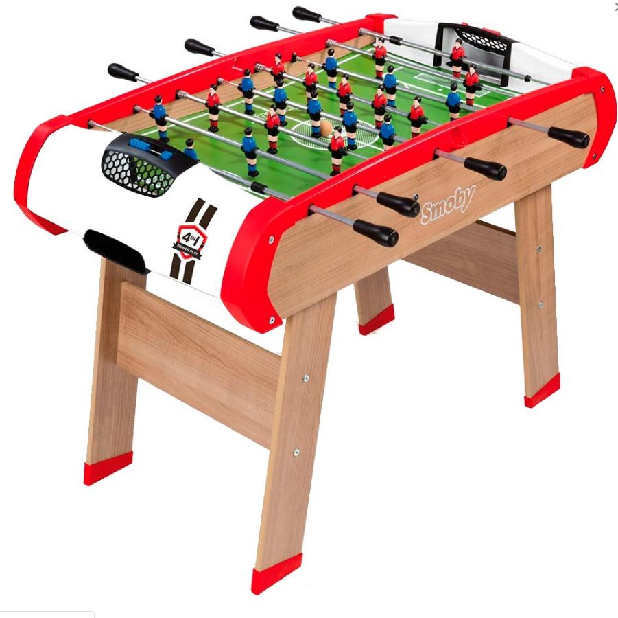 Деревянный полупрофессиональный футбольный стол Power Play 4 в 1 Smoby 640001 настольный футбол