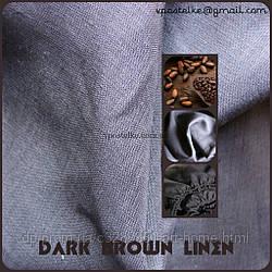 Льняное постельное белье тёмно коричневого цвета