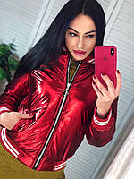 Куртка блестящая короткая на молнии. Красная курточка