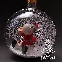 Стеклянный шар на елку Зимняя сказка с символом года ручная работа диаметр 100 мм 100-сг-20