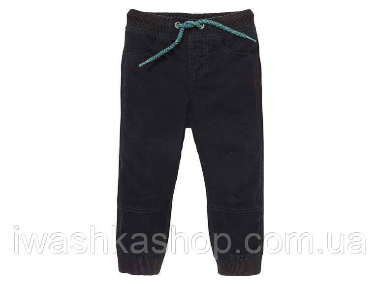 Черные термо штаны, джоггеры на мальчика 2 - 3 лет, р. 98, Lupilu
