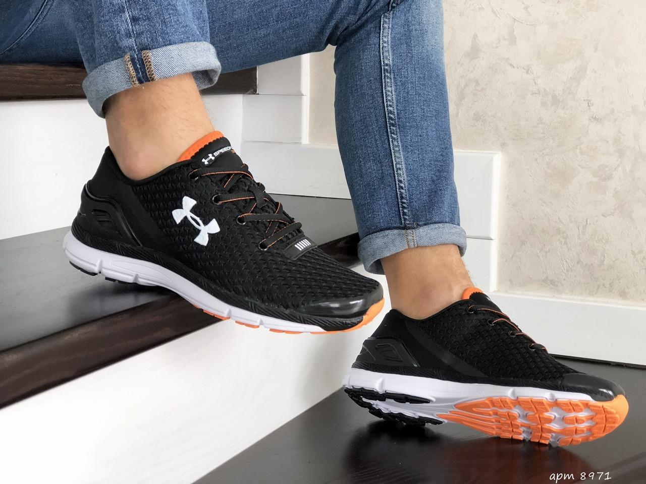 Мужские кроссовки Under Armour SpeedForm Gemini (Черно-белые с оранжевым) 8971