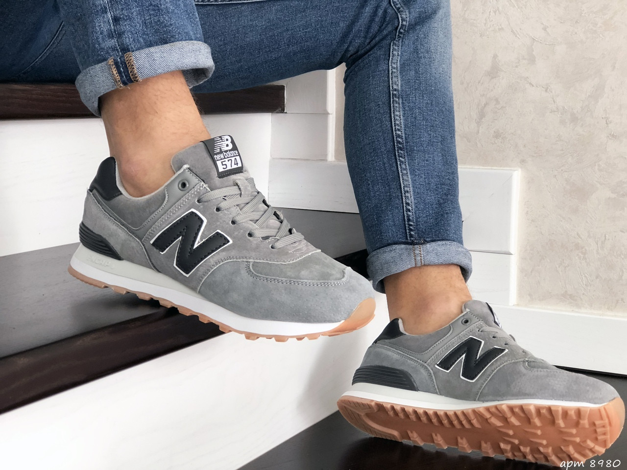 Мужские кроссовки New Balance 574 (светло-серые) 8980