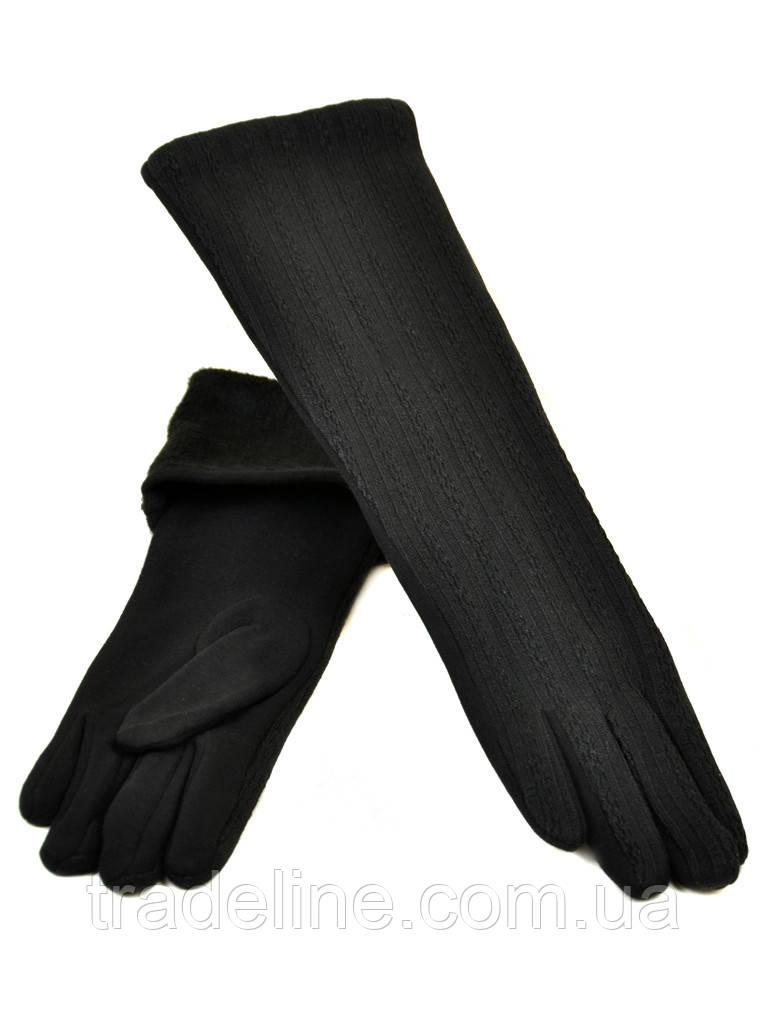 PODIUM Перчатка Женская стрейч F19/17 40см black плюш Распродажа