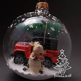 Стеклянный шар на елку Новогодняя сказка с символом года ручная работа диаметр 100 мм 100-сг-20-1
