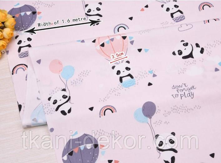 Сатин (хлопковая ткань) панды на воздушном шаре (розовый фон)