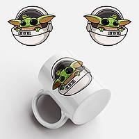 Кружка с принтом Маленький Йода. Baby Yoda Logo. Чашка с фото, фото 1