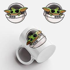 Кружка с принтом Маленький Йода. Baby Yoda Logo. Чашка с фото