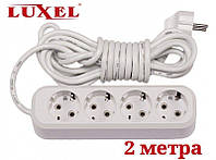 Подовжувач мережевий Luxel 10A, 4 розетки з заземленням, подовжувачі електричні