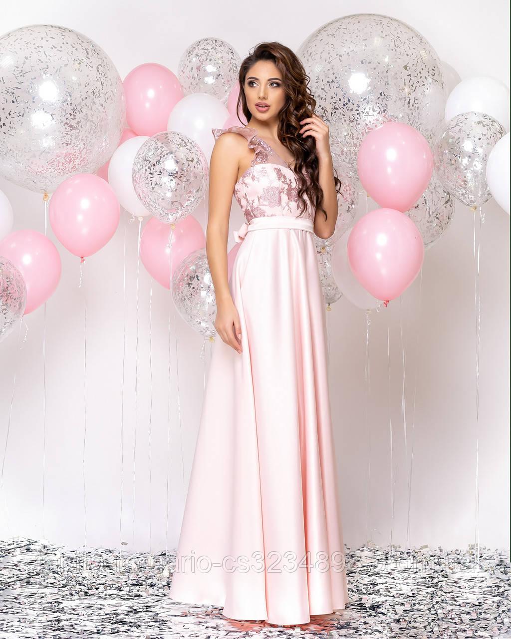 Випускна сукня фрезового кольору, атласна з мереживом L