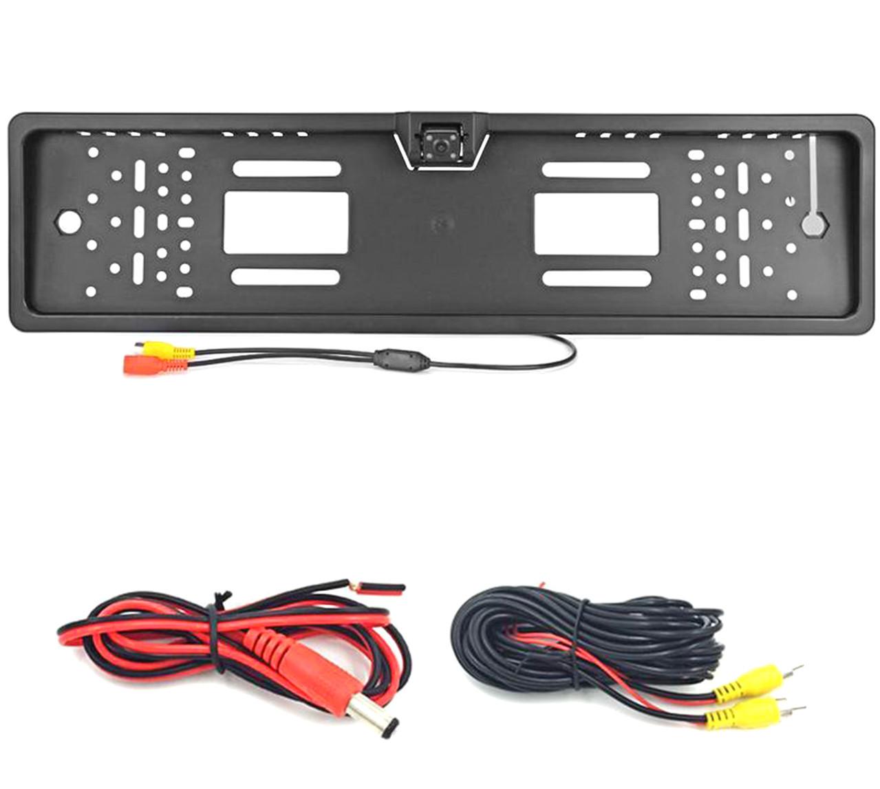 Камера заднего вида в рамке автомобильного номера (с подсветкой 4LED Черная)