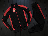 Весенний спортивный костюм Puma Черный с красными лампасами