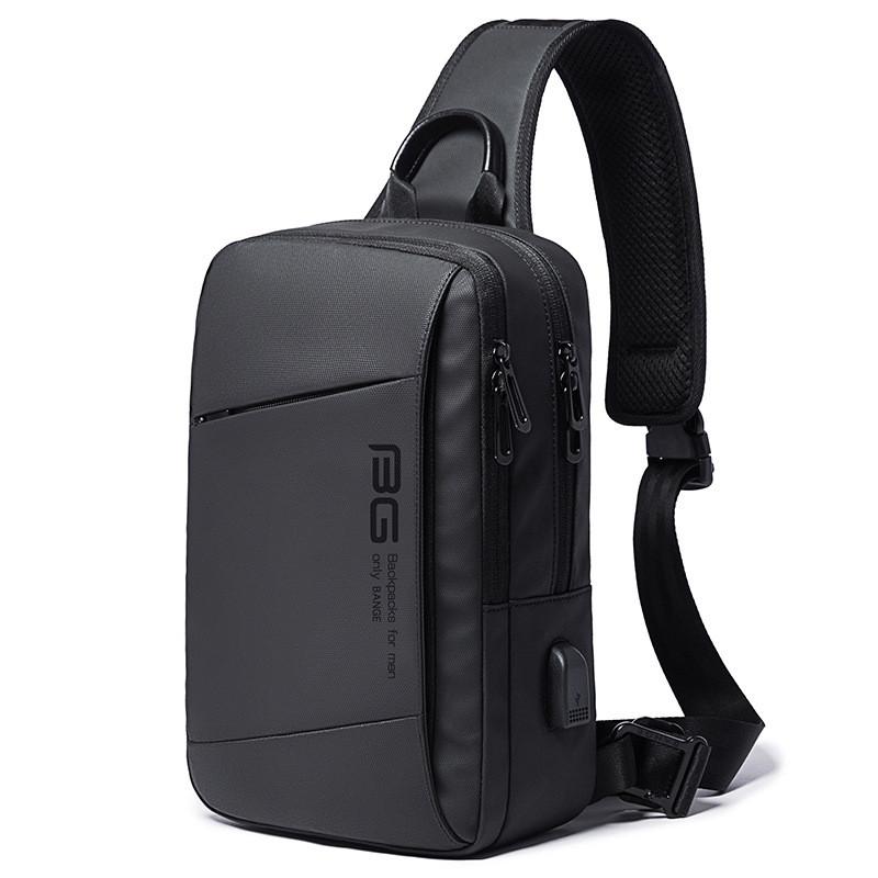 Однолямочный рюкзак Bange BG22002, с USB портом, два отделения, три кармана, влагозащищённый, 5л