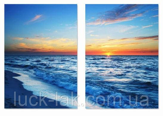Алмазная вышивка закат на берегу, модульная 2 картины 20х30 см, полная выкладка, квадратные стразы