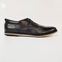 Туфли мужские повседневные весна/осень из натуральной кожи черные 40, фото 1