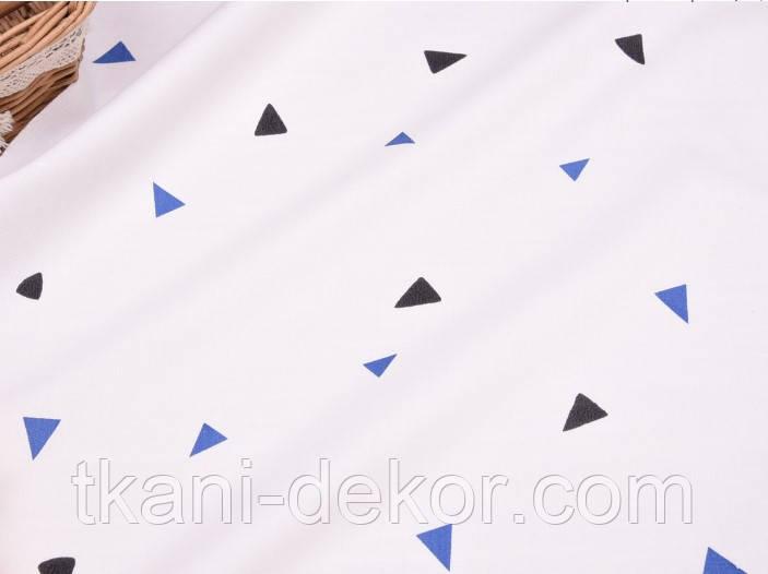 Сатин (бавовняна тканина) трикутник кольоровий (компаньйон фламінго блакитний)