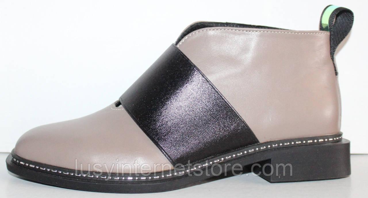 Ботинки женские пудровые кожаные демисезонные на низком каблуке от производителя модель ЛД102-4