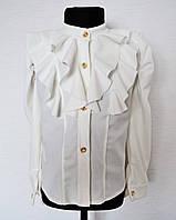 Нарядная блузка для девочек 4-14 лет белого цвета
