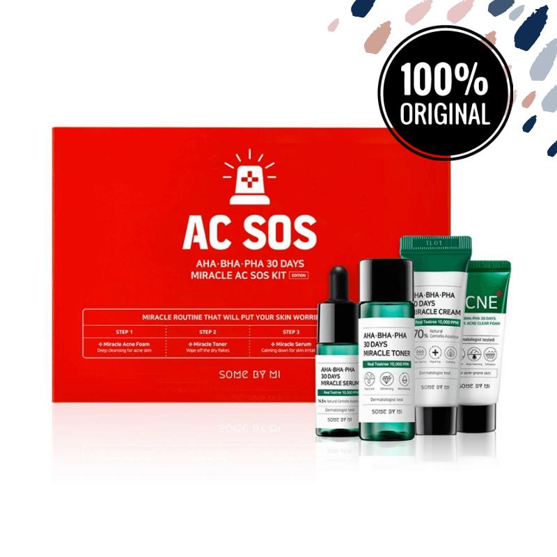 Набор из 4 кислотных средств для проблемной кожи SOME BY MI AHA, BHA, PHA 30 Days Miracle AC SOS Kit