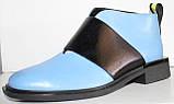 Ботинки женские голубые кожаные демисезонные на низком каблуке от производителя модель ЛД102-5, фото 2
