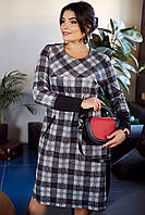 Женское платье прямое красивое теплое большого размера 50-60 р серого цвета