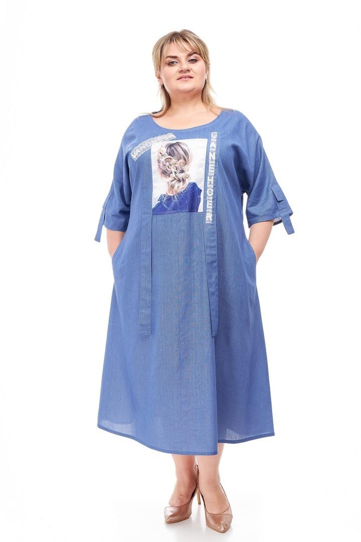 Льняное женское платье размера плюс Гледис 3 цвета (60-66)