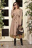 Плащ-тренчкот брендовый женский Domenica удлинённый двубортный (3 цвета, р.S-XL), фото 2