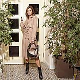 Плащ-тренчкот брендовый женский Domenica удлинённый двубортный (3 цвета, р.S-XL), фото 3