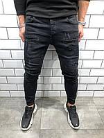 Мужские модные джинсы черные качественные, фото 1