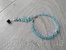 Браслет серебряный ′Голубой топаз и черный жемчуг′