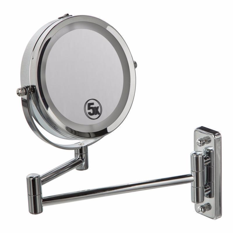 Подвійне дзеркало для гоління / макіяжу з кріпленням на стіну 5Х