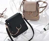 Рюкзак женский сумка трансформер Faye (черный, коричневый)
