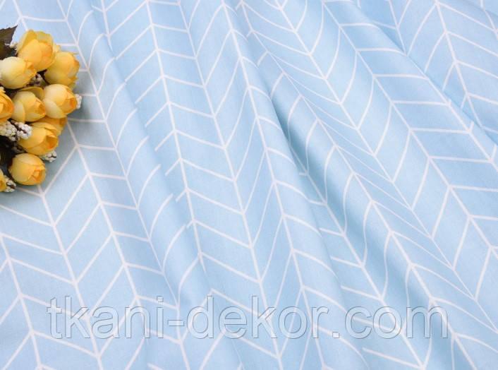 Сатин (хлопковая ткань) геометрия средняя голубая