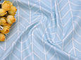 Сатин (бавовняна тканина) геометрія середня блакитна, фото 3