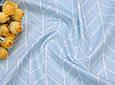 Сатин (хлопковая ткань) геометрия средняя голубая, фото 3