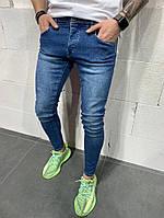 Мужские прямые синие джинсы классика