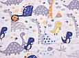 Сатин (хлопковая ткань) дракончики серые и пальмы (дино), фото 3