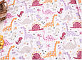 Сатин (хлопковая ткань) дракончики розовые и пальмы (дино), фото 3