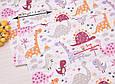 Сатин (хлопковая ткань) дракончики розовые и пальмы (дино), фото 2