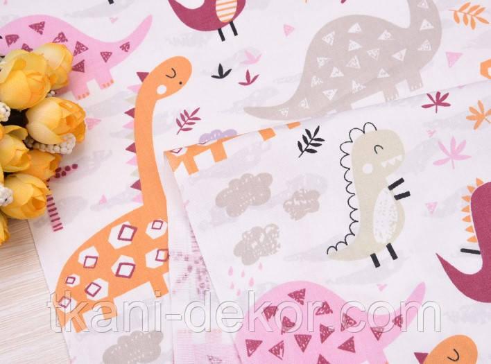 Сатин (хлопковая ткань) дракончики розовые и пальмы (дино)
