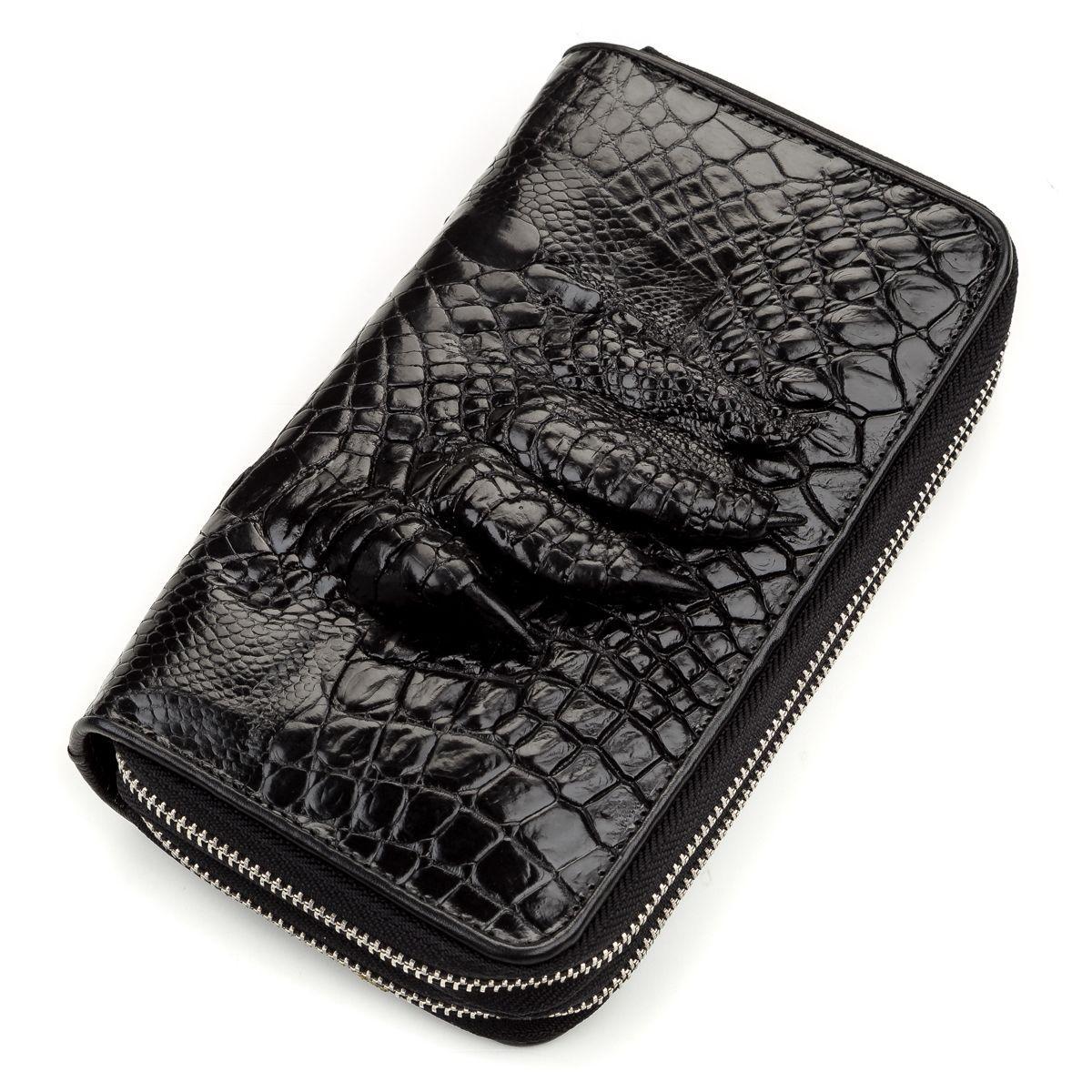 Кошелек-клатч CROCODILE LEATHER 18174 из натуральной кожи крокодила Черный