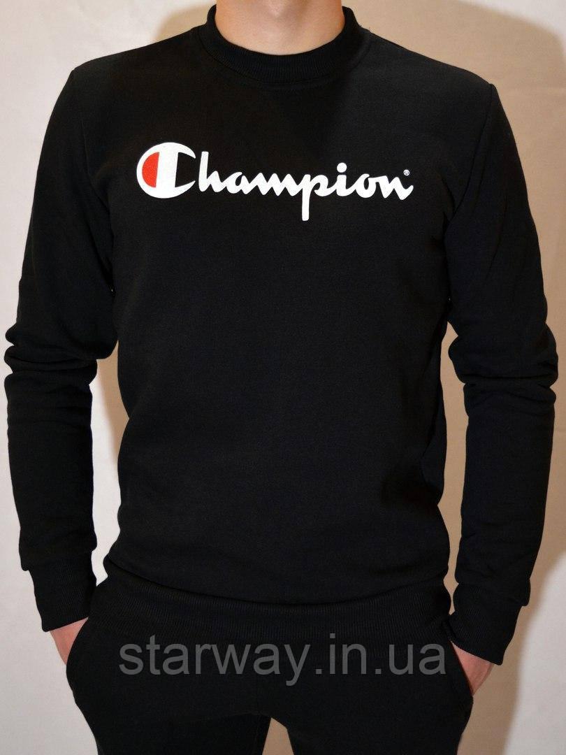 Свитшот чёрный | Кофта с принтом Champion
