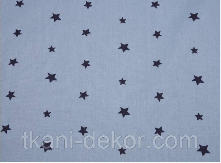 Сатин (бавовняна тканина) зірки чорні на бірюзі (нові)